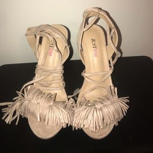 Just Fab Fringe Sandals size 8.